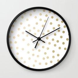 Stylish Gold Polka Dots Wall Clock