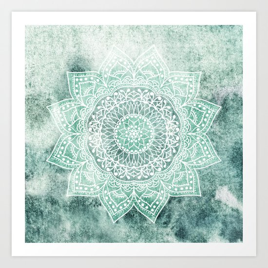 DEEP MINT MANDALA Art Print