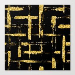 Gold glitter brush on black Canvas Print