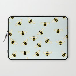 Cute Bees Print on Blue Background Laptop Sleeve