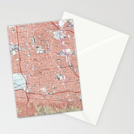 Vintage Map of Van Nuys California (1966) Stationery Cards