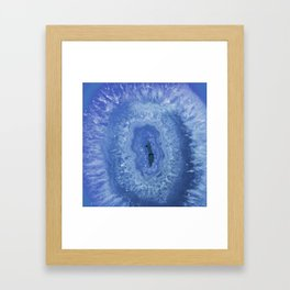 Navy Blue Agate Framed Art Print