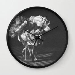 peonies [bw] 03 Wall Clock