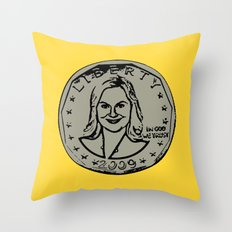 Leslie Knope  |  Susan B. Anthony Coin  |  Parks and Recreation Throw Pillow