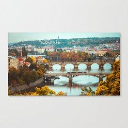 Historic Charles Bridge Vltava River Prague Magnificent Cityscape Czech Republic Ultra HD Canvas Print