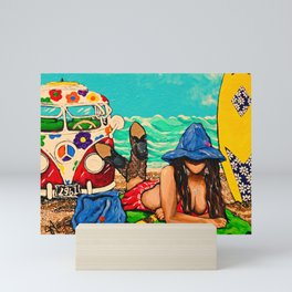Beaching It 1961 Hippies Hippy  Van Surfboard Beach Woman Western Jackie Carpenter Bright Gift Gifts Mini Art Print