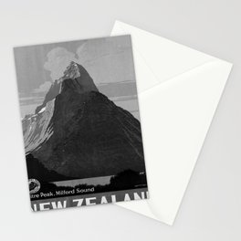 retro b/w New Zealand travel poster Stationery Cards