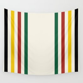 Rustic Lodge Stripes Black Yellow Red Green Wall Tapestry