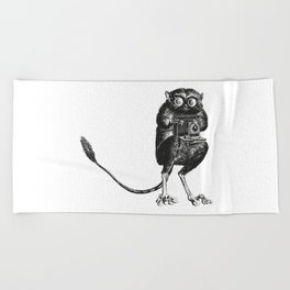 Say Cheese! | Tarsier with Vintage Camera | Black and White Beach Towel