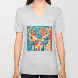 Colorful Peacock Unisex V-Neck