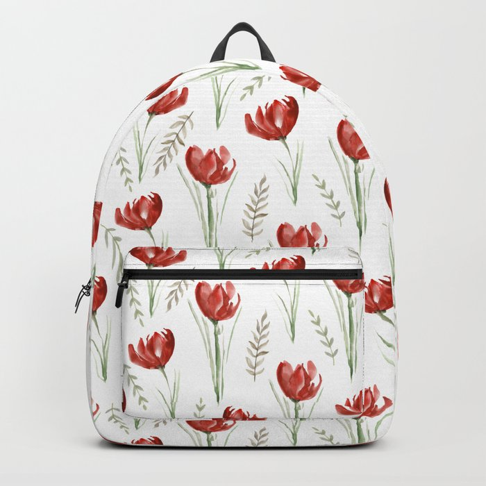 Red poppies. Watercolor Backpack