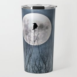 Night Raven Lit By The Full Moon Travel Mug