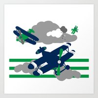 airplanes Art Prints featuring Airplanes 2  by ann t jones