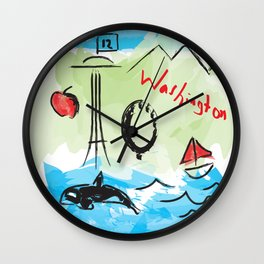 City scape - Seattle, Washington Wall Clock