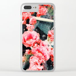 closeup blooming red cactus flower texture background Clear iPhone Case