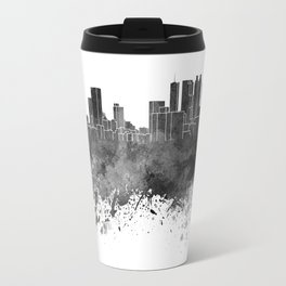 Atlanta skyline in black watercolor on white background Travel Mug