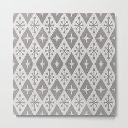 Mid Century Modern Atomic Triangle Pattern 710 Gray Metal Print