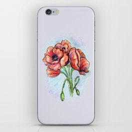 Poppy Flowers Sketch iPhone Skin
