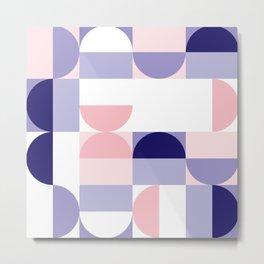 Minimal Bauhaus Semi Circle Geometric Pattern 2 - #bauhaus #minimal Metal Print
