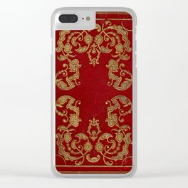 Antique Book Cover from 1856* Literacy Art * Red * Gold * Gilt Clear iPhone Case