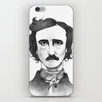 edgar allan poe iPhone & iPod Skins featuring Edgar Allan Poe by Sydney Morrow