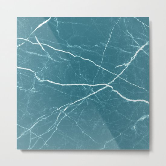Blue marble abstract texture pattern Metal Print