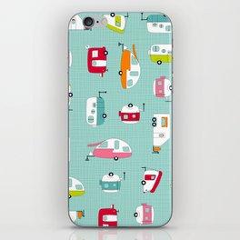 Multicolour Campers on aqua iPhone Skin
