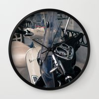 vespa Wall Clocks featuring Vespa  by Natural Outlook