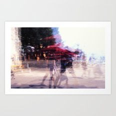 Summer holiday or under a red umbrella Art Print