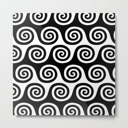 Wave Pattern Black and White Metal Print