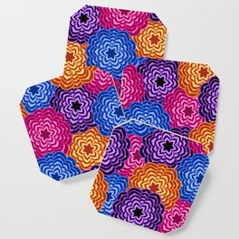 Dahlia Rainbow Multicolored Floral Abstract Pattern Coaster