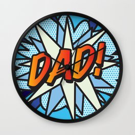 DAD Comic Book Superhero Cool Blue Pop Art  Wall Clock