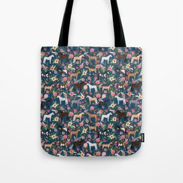 Horse Florals - navy Tote Bag