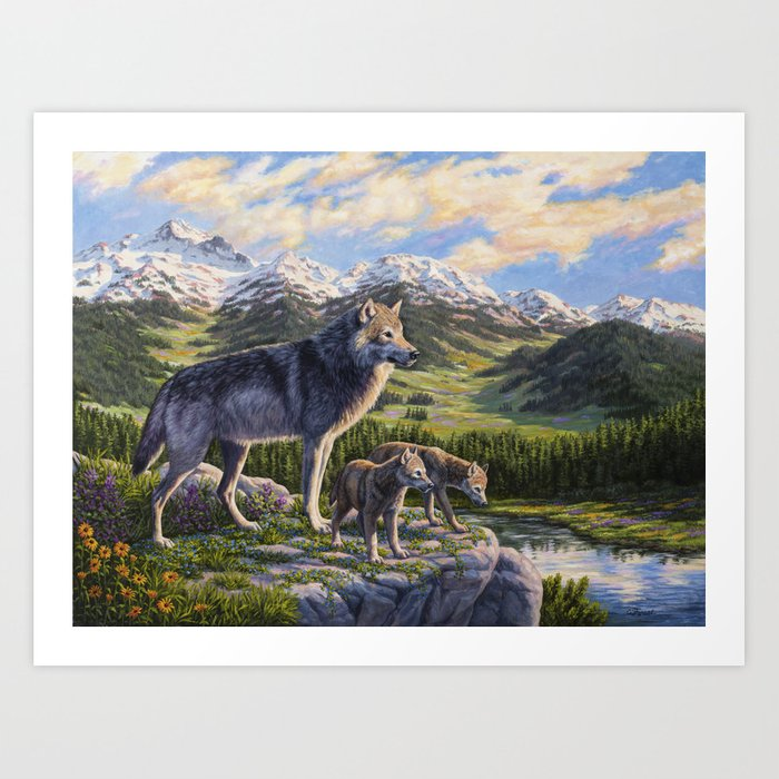 Mother Gray Wolf and Pups River Valley Art Print