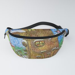 bear, donkey and piglet are walking in the winter forest. Fanny Pack