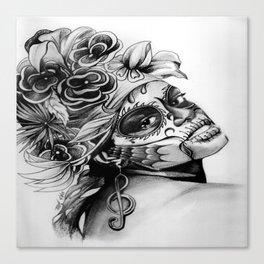 Antonia Dia de Los Muertos by Terri:B&W Canvas Print