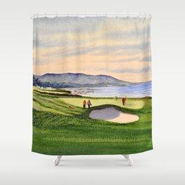 Pebble Beach Golf Course 9th Green Shower Curtain