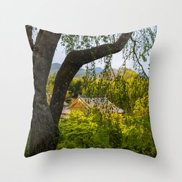 Beautiful garden at Tenryu-ji temple, Kyoto, Japan Throw Pillow