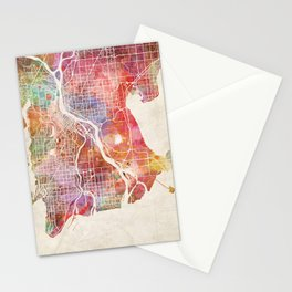 Vancouver map Stationery Cards