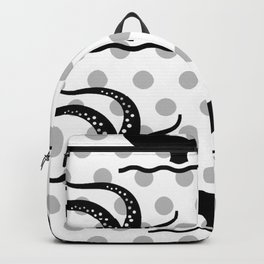 Octopus and Whale Polka Dots Black and Gray Pattern Backpack