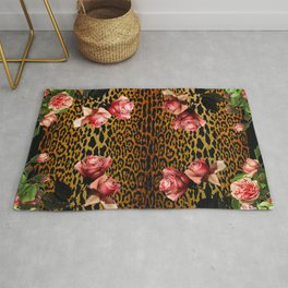 Leopard and Roses Rug