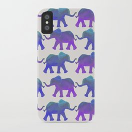 Follow The Leader - Painted Elephants in Royal Blue, Purple, & Mint iPhone Case
