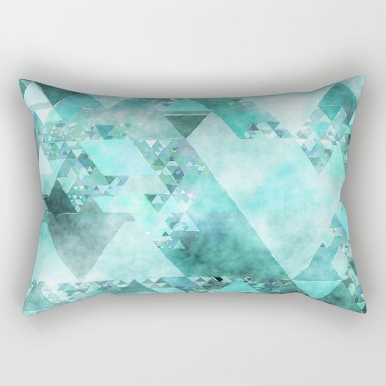 Triangles in aqua - Modern turquoise green blue triangle pattern Rectangular Pillow