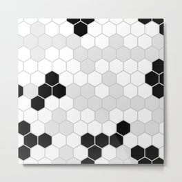 Honeycomb Pattern | Black and White Design | Minimalism Metal Print