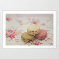 macarons Art Prints featuring macarons by Beth Retro