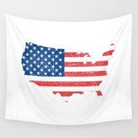 usa Wall Tapestries featuring USA by chokkicx