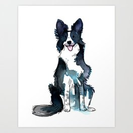 Indigo - Dog Watercolour Art Print