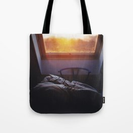 Sunset in bed Tote Bag