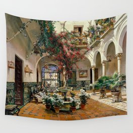 Interior Courtyard Seville Spain by Manuel Garcia Y Rodriguez Wall Tapestry