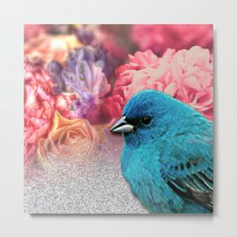 Blue Bird With Floral & Glitter Metal Print